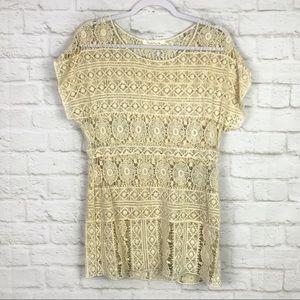 Solitaire Open Crochet Lace Cream Scoop Neck Top S